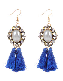 Fashion Sapphire Blue Pearls&tassel Decorated Simple Earrings