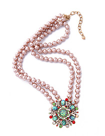 Fashion Multi-color Flower Decorated Double Layer Necklace