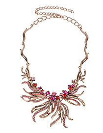 Fashion Pink Diamond Decorated Irregular Shape Necklace