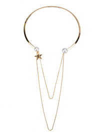 Fashion Gold Color Star Pendant Decorated Double Layer Necklace