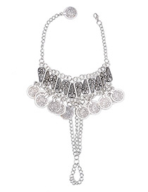 Fashion Silver Color Coins Pendant Decorated Simple Anklet