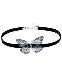 Fashion Black Butterfly Decorated Simple Choker