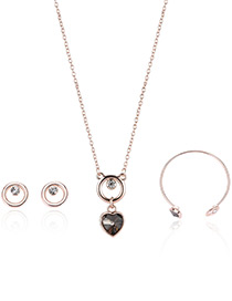 Fashion Rose Gold Heart Shape&circular Ring Decorated Necklace (3pcs)