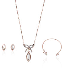 Fashion Rose Gold Bowknot Pendant Decorated Pure Color Necklace (3pcs)