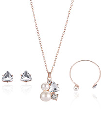 Fashion Rose Gold Pearls&diamond Decorated Pure Color Necklace (3pcs)