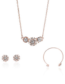 Fashion Rose Gold Flower Decorated Pure Color Necklace (3pcs)
