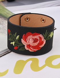 Fashion Black Embroidery Flower Decorated Width Bracelet