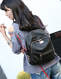 Trendy Black Pure Color Decorated Simple Backpack