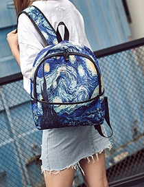 Fashion Multi-color Printing Stars Pattern Color Matching Backpack