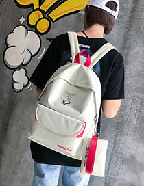 Fashion White Letter Pattern Decorated Pure Color Backpack