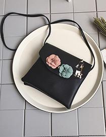Fashion Blue Flower Decorated Pure Color Shoulder Bag