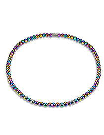 Fashion Multi-color Bead Decorated Pure Color Simple Necklace