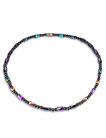 Fashion Black Bead Decorated Pure Color Simple Necklace