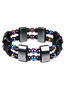 Fashion Black Bead Decorated Multi-layer Pure Color Bracelet