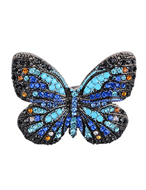 Fashion Blue Butterfly Shape Decorated Color Matching Ring
