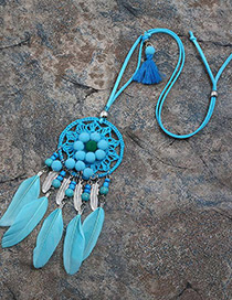 Fashion Lake Blue Feather&ball Decorated Pure Color Pom Necklace