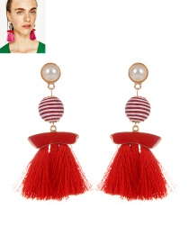 Fashion Red Pearls&tassel Decorated Simple Earrings
