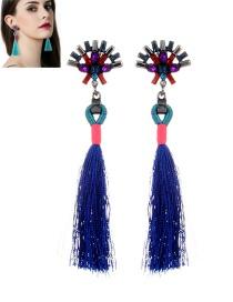 Fashion Sapphire Blue Diamond&tassel Decorated Simple Earrings