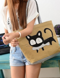 Fashion Yellow Cartoon Cat Pattern Decorated Shoulder Bag