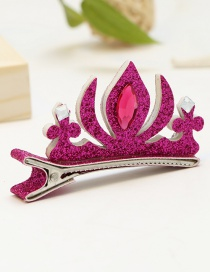 Lovely Plum Red Crown Shape Decorated Pure Color Hairpin