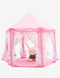 Lovely Pink Pure Color Decorated Hexagonal Shape Simple Tent