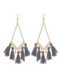 Fashion Gray Tassel Pendant Decorated Simple Earrings