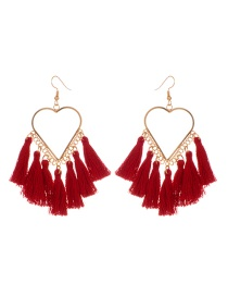 Fashion Claret Red Tassel Decorated Heart Shape Design Earrings