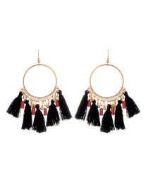 Fashion Black Tassel Decorated Round Shape Design Earrings