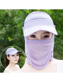 Trendy Light Purple Pure Color Decorated Anti-ultraviolet Hat