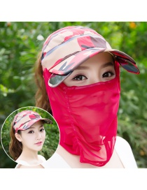Trendy Red Color Matching Decorated Anti-ultraviolet Hat