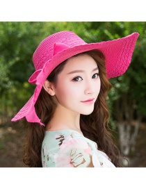 Trendy Plum Red Bowknot Decorated Pure Color Anti-ultraviolet Hat