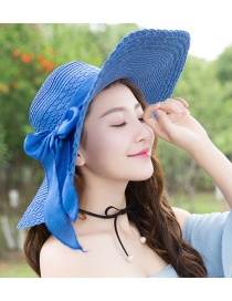 Trendy Blue Bowknot Decorated Pure Color Anti-ultraviolet Hat