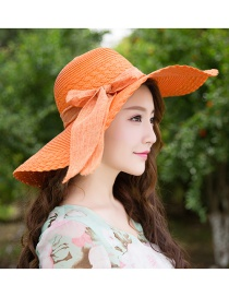 Trendy Orange Bowknot Decorated Pure Color Anti-ultraviolet Hat