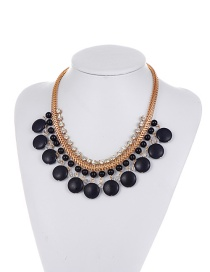 Fashion Black Round Gemstone Decorated Pure Color Necklace