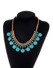 Fashion Blue Round Gemstone Decorated Pure Color Necklace