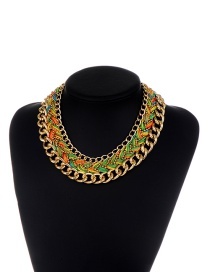 Fashion Green Chains Decorated Hand-woven Design Necklace