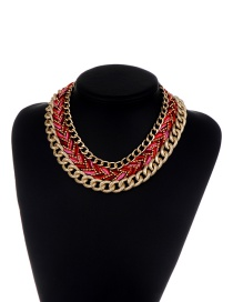Fashion Red Chains Decorated Hand-woven Design Necklace