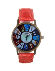 Fashion Pink Color Matching Decorated Round Dail Watch