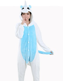 Fashion Blue Unicorn Shape Decorated Color Matching Nightgown