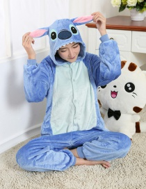 Fashion Blue Stitch Shape Decorated Color Matching Nightgown
