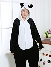 Fashion Black Panda Shape Decorated Color Matching Nightgown