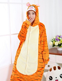 Fashion Yellow Tiger Shape Decorated Simple Nightgown