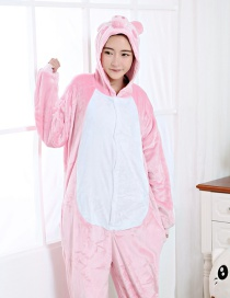 Fashion Pink Pig Shape Decorated Pure Color Nightgown