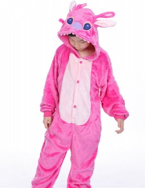 Fashion Pink Stitch Shape Decorated Simple Chid Nightgown