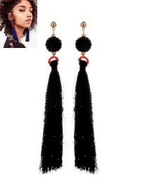 Fashion Black Tassel Pendant Decorated Pure Color Earrings