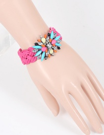 Fashion Plum Red Geometric Diamond Decorated Hand-woven Bracelet