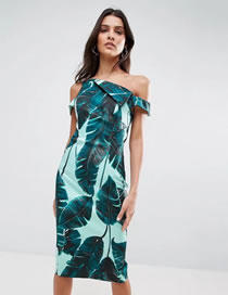 Fashion Green Flower Pattern Decorated One-shoulder Long Dress