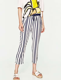 Fashion Black+white Stripe Pattern Decorated Simple Loose Pant