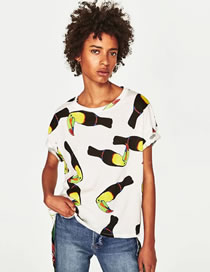 Fashion White Bird Pattern Decorated Short Sleeves T-shirt