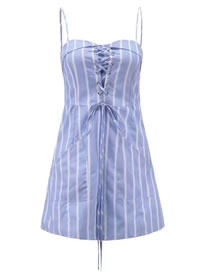 Fashion Blue Stripe Pattern Decorated Bandage Design Dress